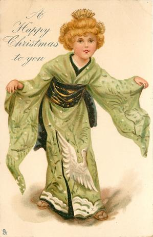 A HAPPY CHRISTMAS TO YOU  blond Japanese girl in green kimono