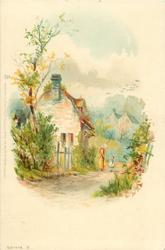 cottage, woman and child in lane