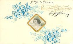 HERZLICHEN GLUCKWUNSCH  nouveau style gilt inset, showing woman looking left, blue forget-me-nots