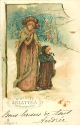 snow scene, mother & girl, two robins,forest behind