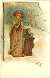 snow scene, mother & girl, two robins, forest behind