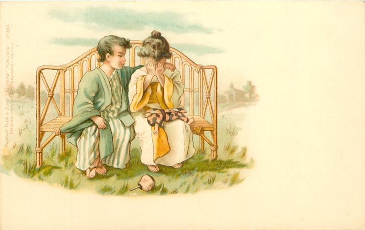 Japanese boy and girl on bamboo seat, girl crying over broken doll