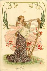 woman plays medieval harp, floral surround