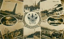 BLACKPOOL  crest & 8 insets
