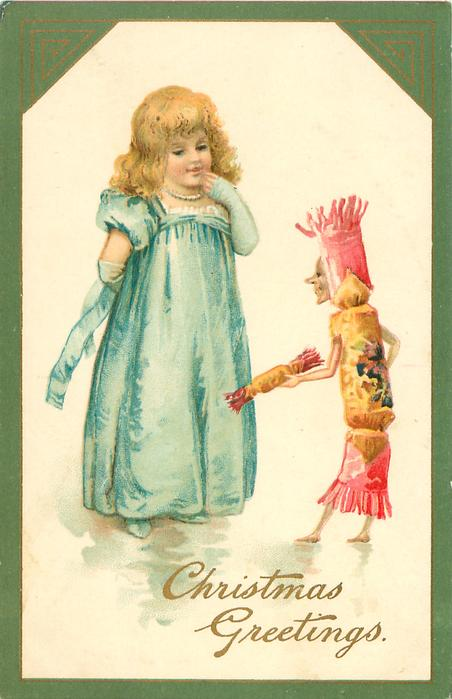 CHRISTMAS GREETINGS  girl in blue talks to a personalised Xmas cracker
