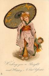 WISHING YOU A BRIGHT AND HAPPY NEW YEAR  girl in kimono holds parasol with right hand, large Japanese doll & dress in her left