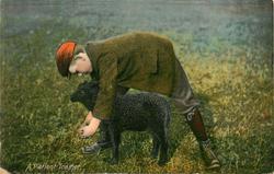 A PATIENT TRAINER boy leans over black lamb