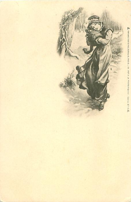 snow scene, girl walking front along path in the woods, muff held up to her face
