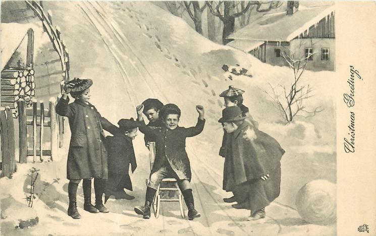 CHRISTMAS GREETINGS   children tobogganing