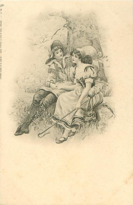 shepherdess & beau sit against tree, he holds her right hand in his lap & gazes at her face