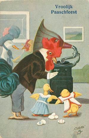 personised dressed cock, two ducklings, & duck back left listen to gramophone, 6 eggs on ground