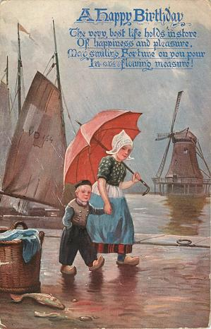 Dutch girl and boy walking right under umbrella, windmill center right