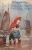 Dutch girl and boy walking right under umbrella, windmill center right