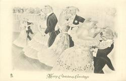 MERRY CHRISTMAS GREETINGS four pig couples dance