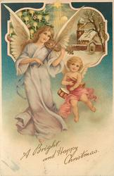 A BRIGHT AND HAPPY CHRISTMAS  tall angel playing violin, small one carries trumpet & drum, insert top
