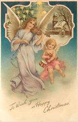 TO WISH YOU A HAPPY CHRISTMAS  tall angel playing violin, small one carries trumpet & drum, insert top