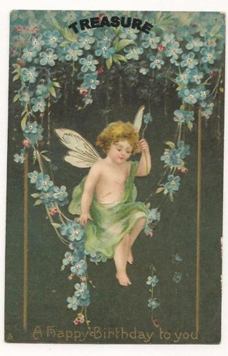 A HAPPY BIRTHDAY TO YOU- cherub among forget me nots