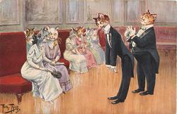 2 male cats in evening dress cluster stand inviting seated females to dance
