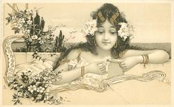 girl facing front, picking daisy petal