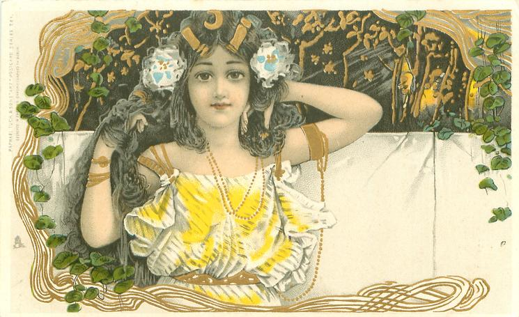 girl facing front, hands up in hair, yellow flowers