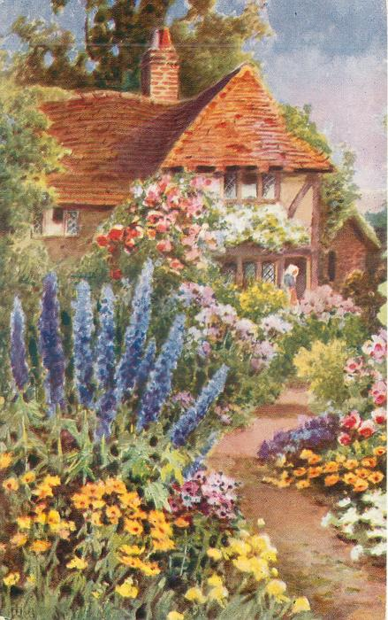 garden in front of tiled cottage, path  leading up, lady in porch with white bonnet, prominent blue delphiniums to left of path