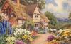 garden in front of thatched cottage, path  leading across front, greenery above door, blue delphiniums prominent to left