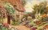garden in front of thatched cottage, path with tiny bird on it, leading up to closed door, pink & white roses above