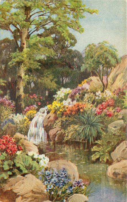 pool with waterfall into it & trees behind, flowers on both banks
