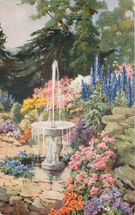 ornamental fountain in small pool, flowers around, trees behind