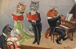tom cat plays piano to accompany a singing male/female duet, audience of two