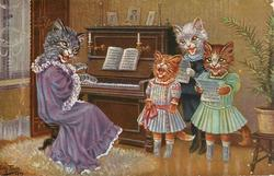 three kittens singing, accompanied  on piano by cat in violet dress