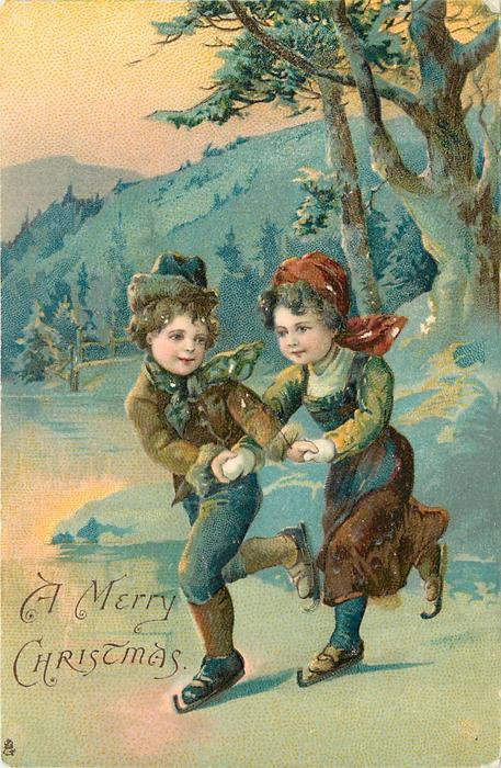A MERRY CHRISTMAS  boy & girl skate holding hands