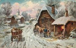 cart stands in snowy village street,horse being shoed , smithy right