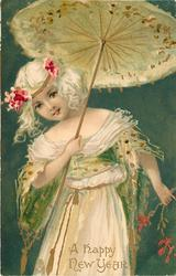 A HAPPY NEW YEAR  girl in white holds open parasol, green background