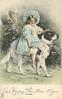 A HAPPY CHRISTMAS TO YOU  girl rides St. Bernard right