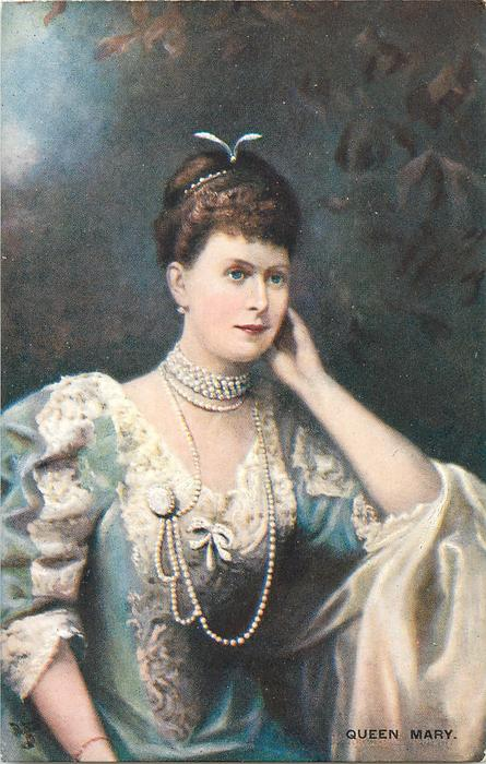QUEEN MARY  seated in blue, white dress