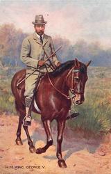 H.M. KING GEORGE V.  on horseback - casual dress