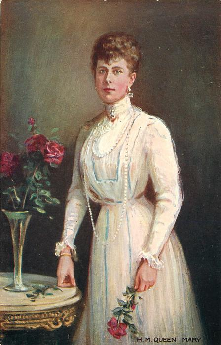 H.M. QUEEN MARY  in white dress, vase of red roses