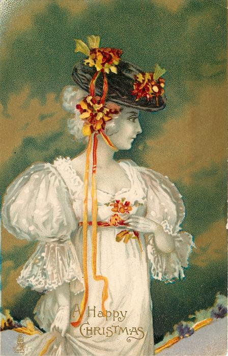 A HAPPY CHRISTMAS  girl in white dress, fancy hat with multicolour flowers, right hand holds up side of skirt