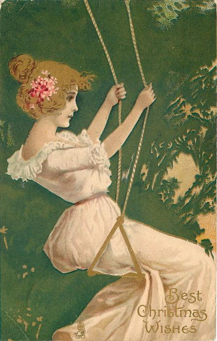 BEST CHRISTMAS WISHES  girl in white sitting on swing