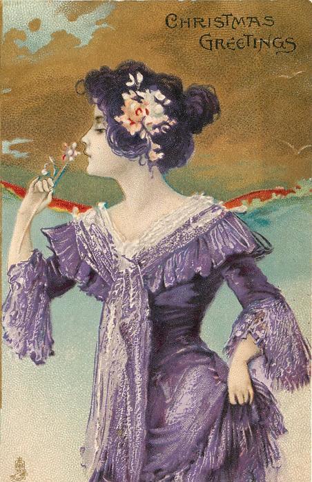 CHRISTMAS GREETINGS  girl in purple dress, smells flower, she faces left