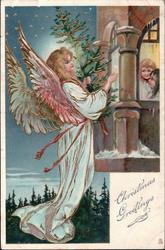 CHRISTMAS GREETINGS angel bearing Xmas tree, two children look out of window