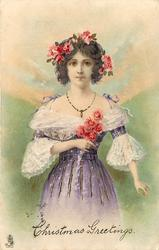 CHRISTMAS GREETING  girl in violet dress, holds red flowers, red flowers in hair