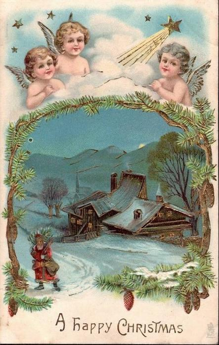 CHRISTMAS WISHES 3 angels & star of Bethlehem over insert winter scene, Santa walks left from lighted cottage