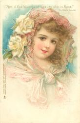 girl in white dress, filmy scarf over head & round neck, white roses over right ear