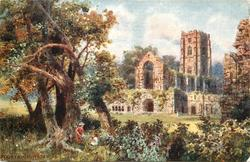 FOUNTAINS ABBEY (woman and girl sitting on grass under the trees)