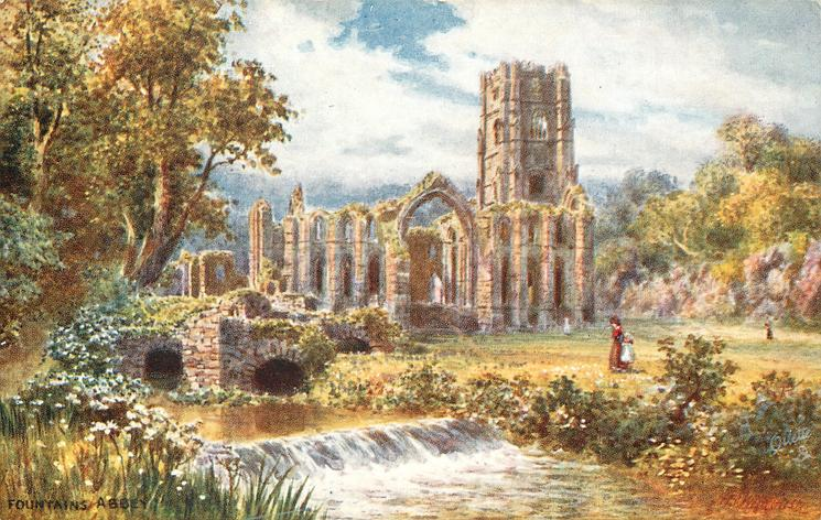 FOUNTAINS ABBEY (woman and girl walking by stream)