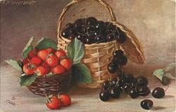 black cherries in, and in front of, basket which is next to small basket of strawberries