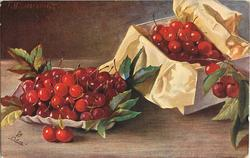 bowl and box of red cherries