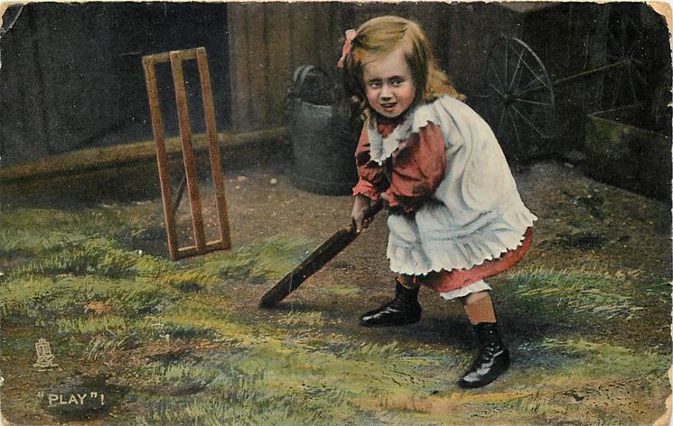PLAY! girl bats before makeshift wicket